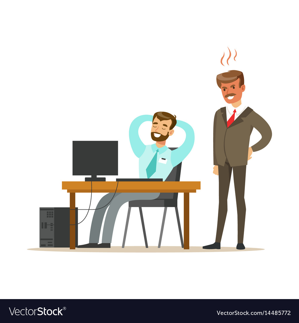 Angry boss yelling at employee colorful cartoon.