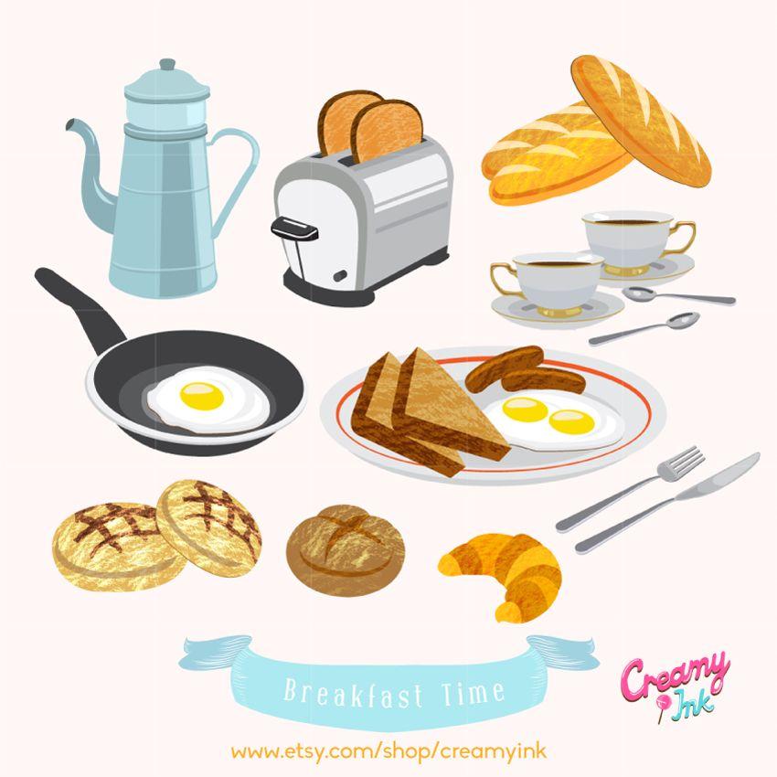 Breakfast digital clip art featuring coffee/tea, bread.