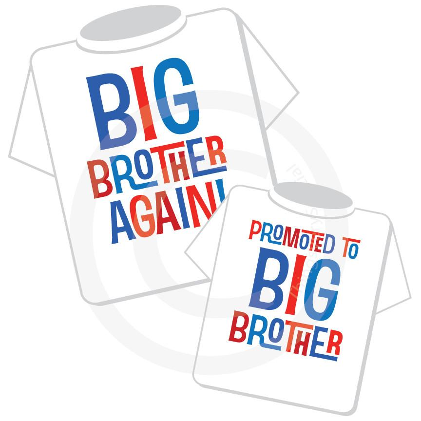Set of Two, Boys Sibling Big Brother Again and Promoted to Big Brother Tee  Shirts, Pregnancy Announcement 07232015g.
