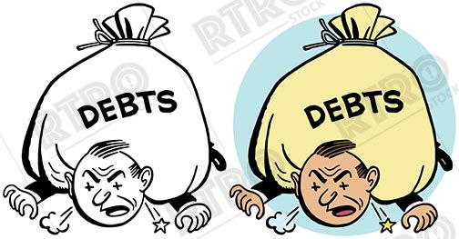 A man is literally crushed under the weight of his debt.