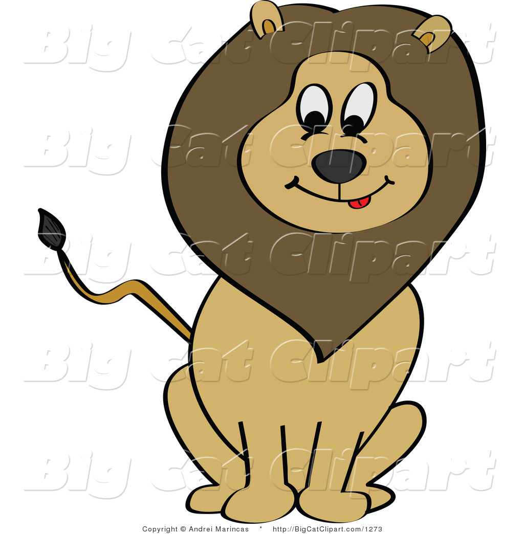 Big Cat Cartoon Vector Clipart of a Hungry Sitting Lion by Andrei.