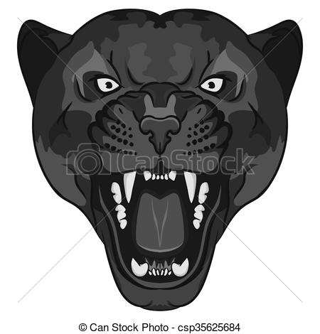Vector Clipart of Panther Portrait. Angry wild big cat.