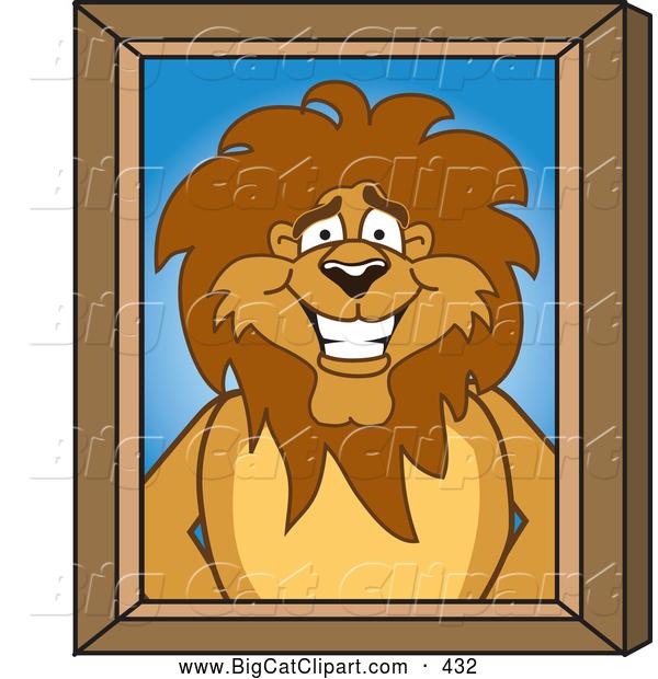 Big Cat Cartoon Vector Clipart of a Smiling Lion Character Mascot.