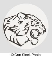 Vector of Panther Portrait. Angry wild big cat head. Cute face of.