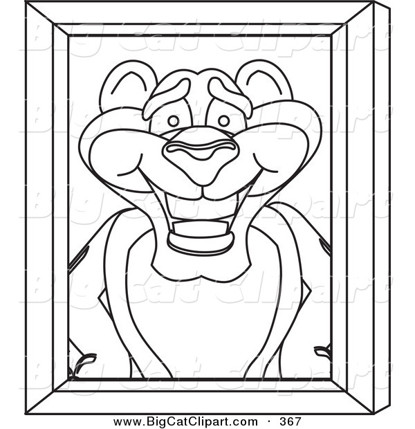 Big Cat Cartoon Vector Clipart of an Outline Design of a Panther.
