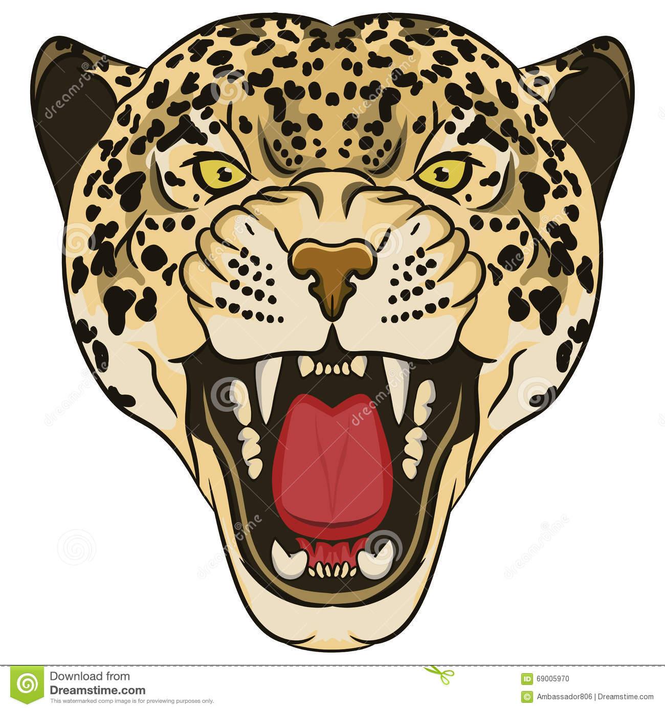 Leopard Portrait. Angry Wild Big Cat Stock Vector.