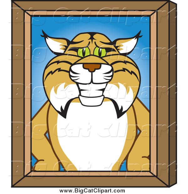 Big Cat Vector Clipart of a Bobcat Character Portrait with a Wood.