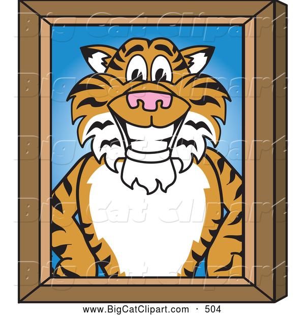 Big Cat Cartoon Vector Clipart of a Cheerful Tiger Character.
