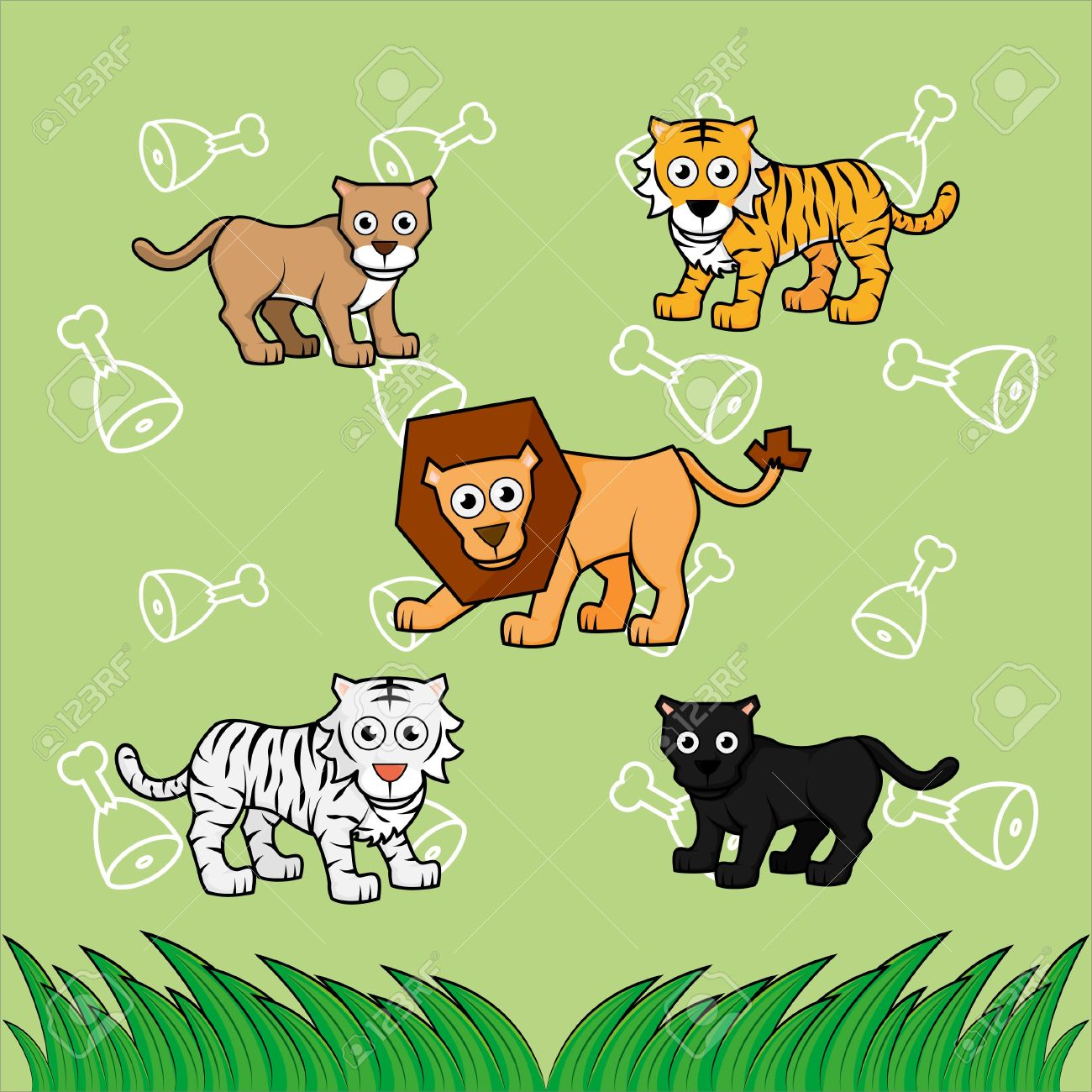 Big Cat Family With Cute Meat Background Royalty Free Cliparts.