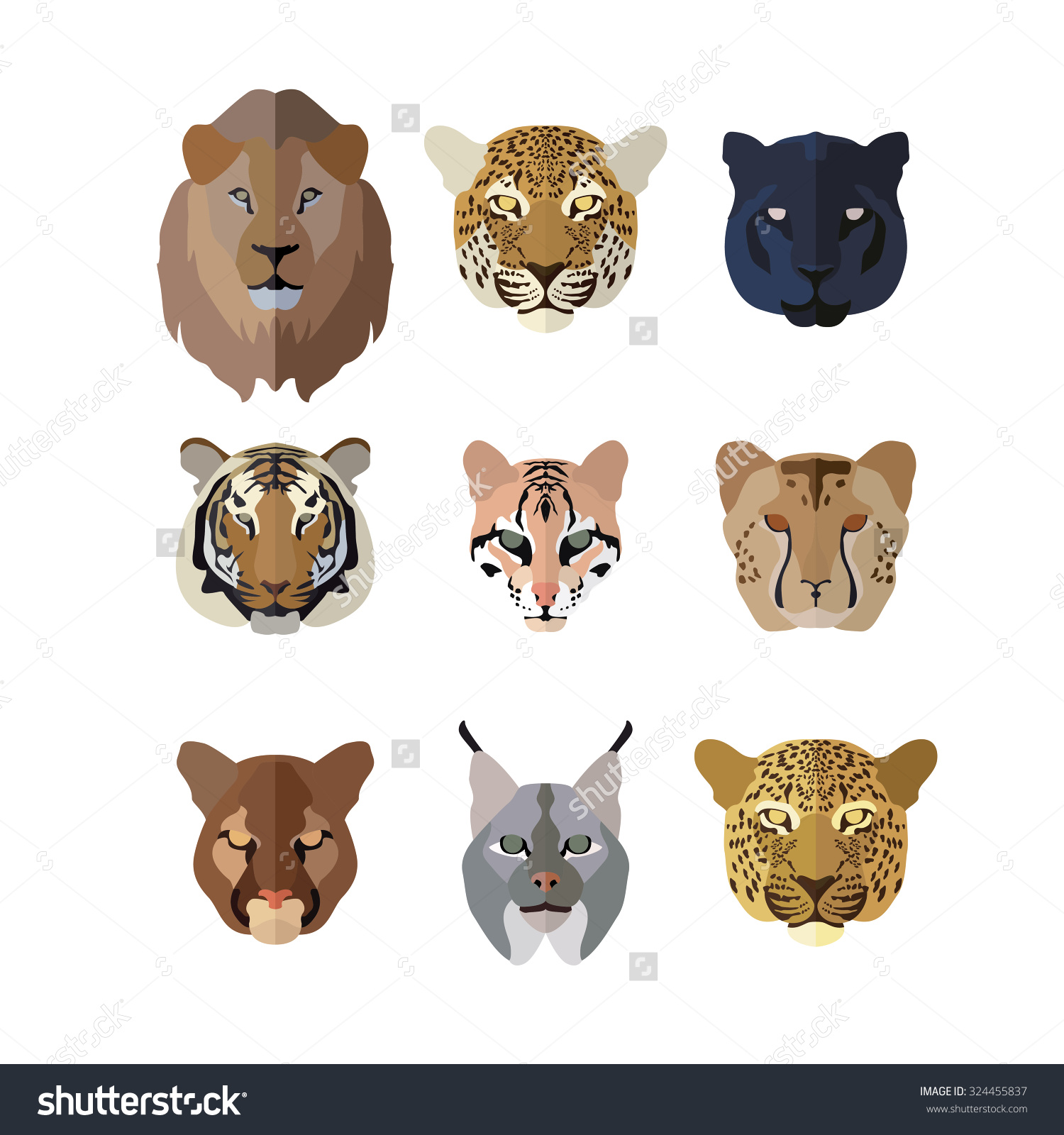 Animal Icons Flat Style Big Cats Stock Vector 324455837.