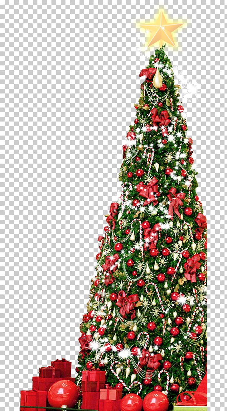 Christmas tree, Big Christmas tree full of gifts PNG clipart.