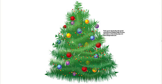 Big Christmas tree free vector Clipart Graphic.