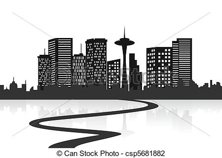 Vector Illustration of Big city skyline with a road csp5681882.