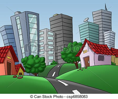 Drawings of houses in a big city.