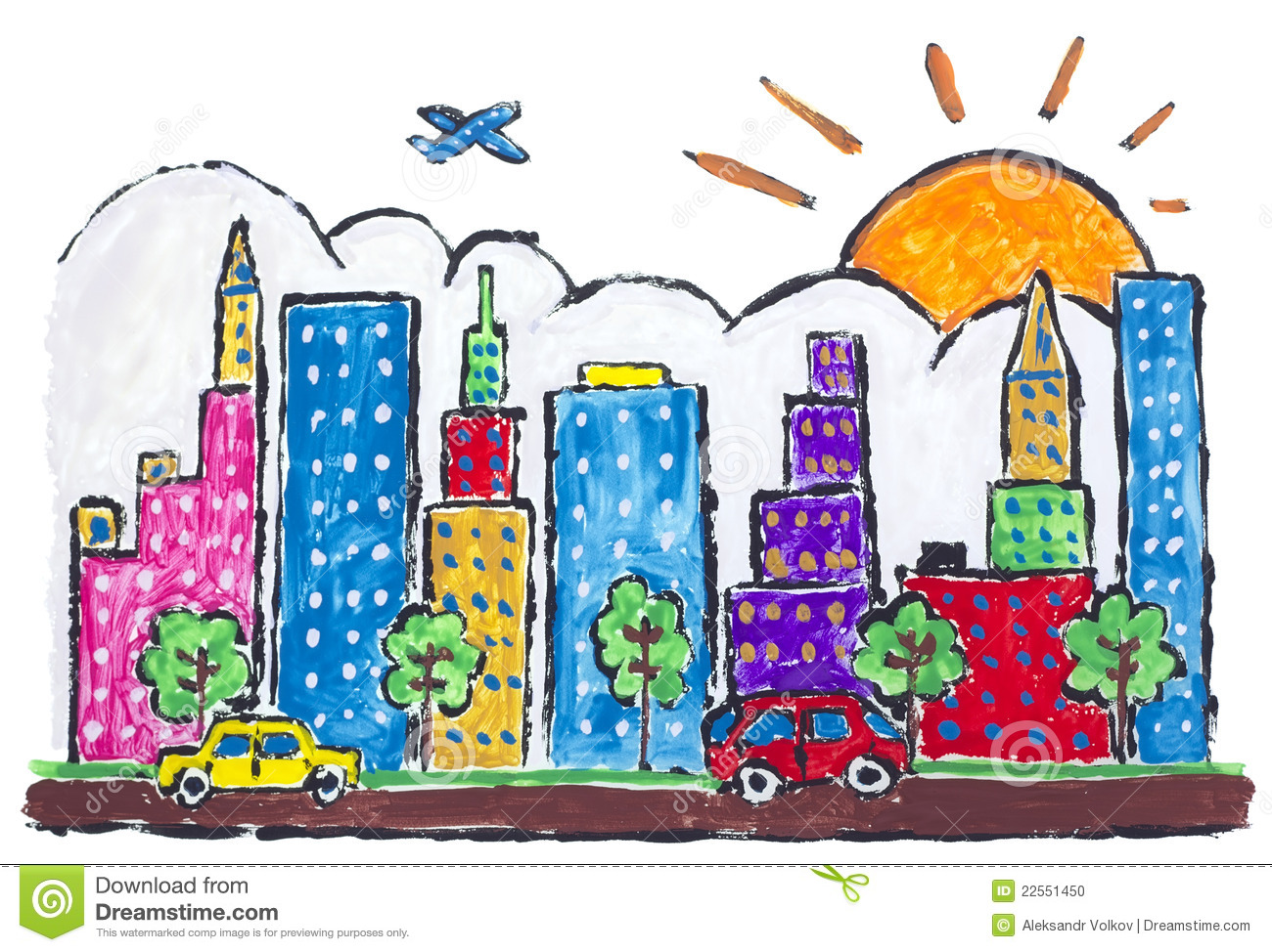 Big City Town Painted Concept Stock Photo.