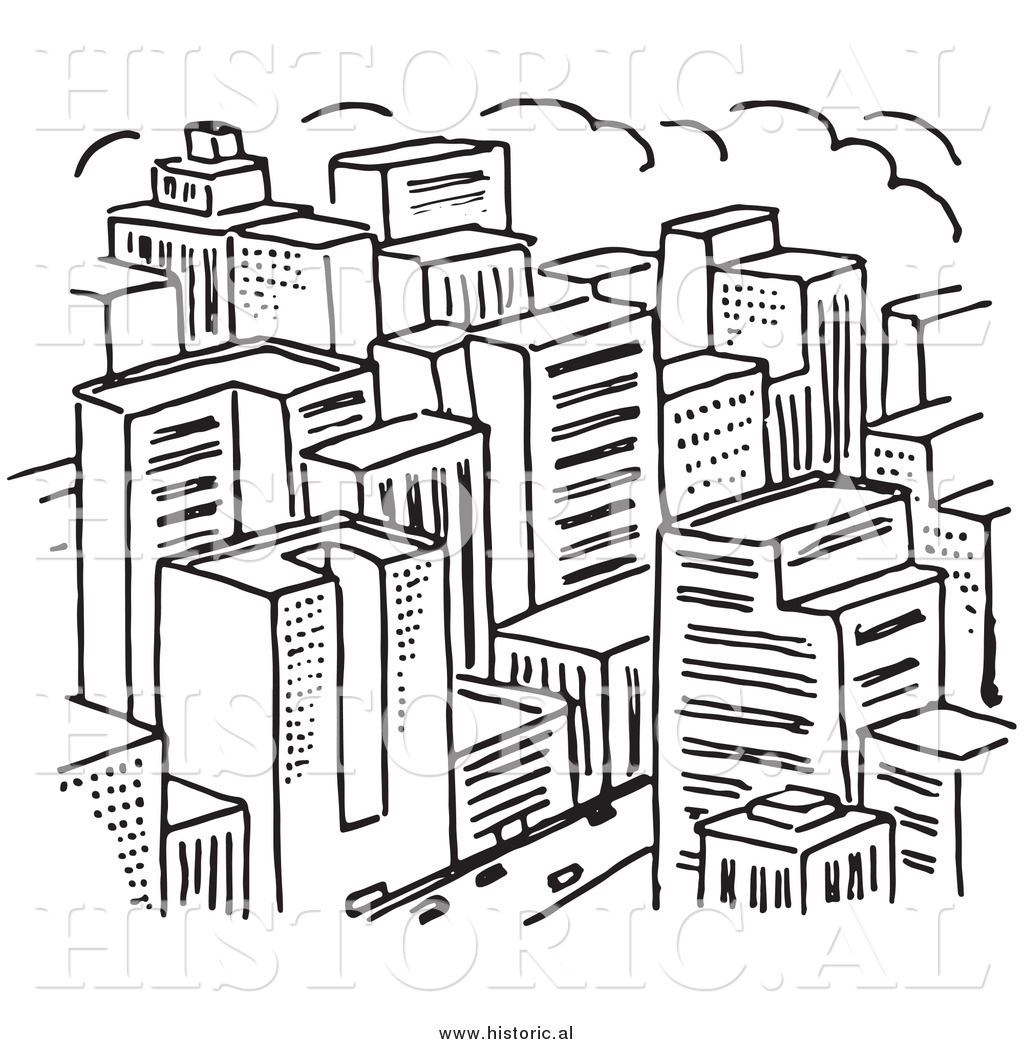 Clipart of a Big City with Lots of Skyscrapers.