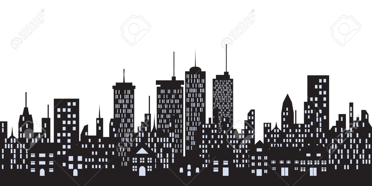 Big City Skyline With Tall Buildings Royalty Free Cliparts.