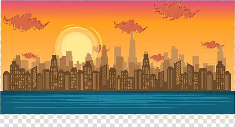 Total Drama BG Big City in Sunset transparent background PNG.