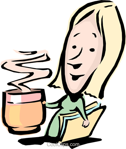 Cartoon woman with a cup of coffee Royalty Free Vector Clip.