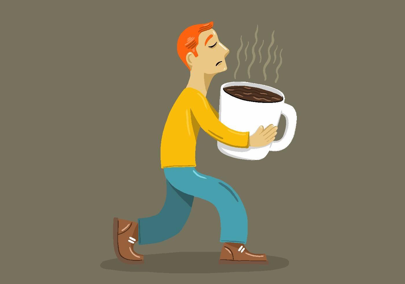 Big Coffee Cup Man Vector.