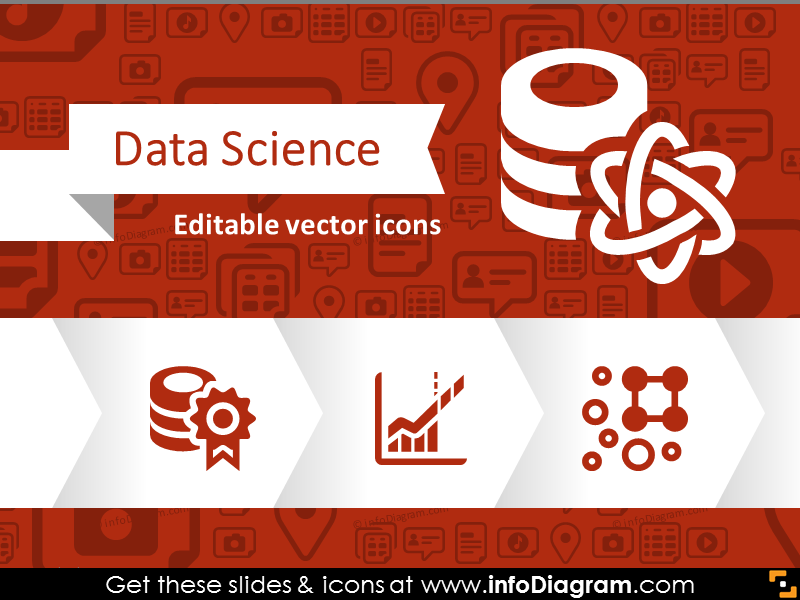 Data Science Big Data Analytics Icons (flat PPT clipart.