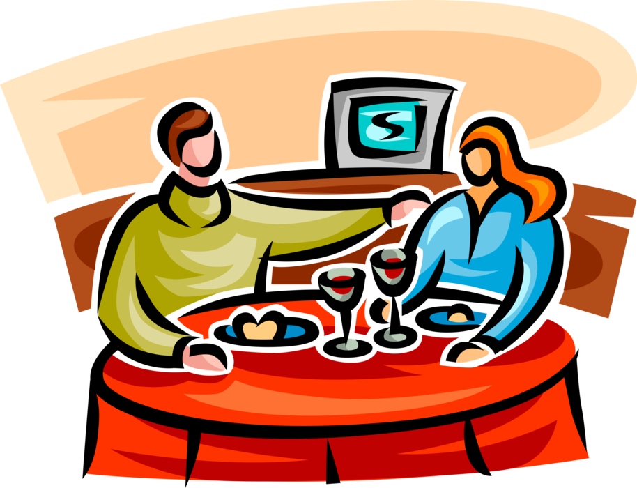 Vector Illustration Of Dining Couple Eat Meal At Restaurant.