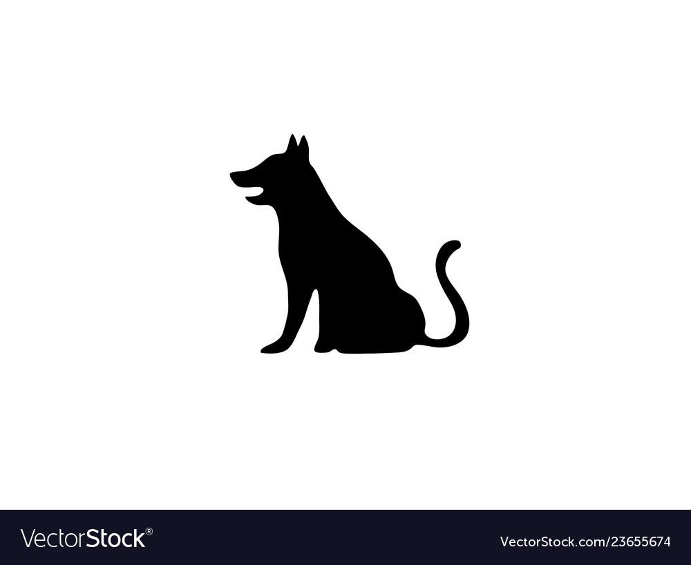 Black big dog sitting with tail up logo.