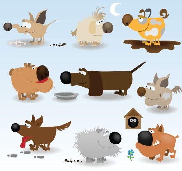XOO Plate :: 10 Hilarious Cartoon Dog Vector Illustrations.