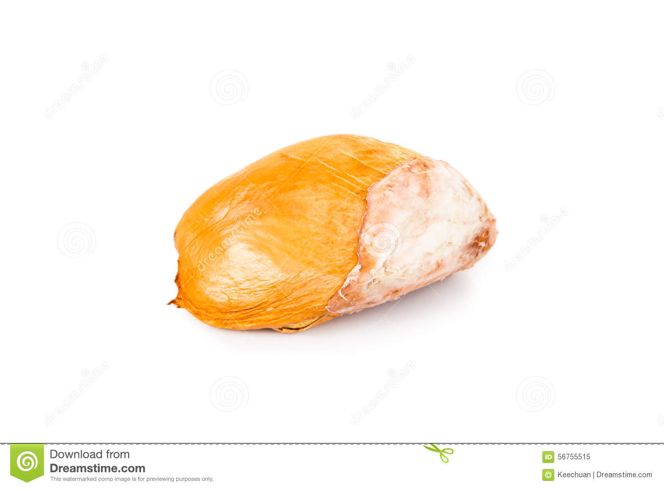 Big, Chunky, Round, And Hard Durian Fruit Seeds Isolated In White.