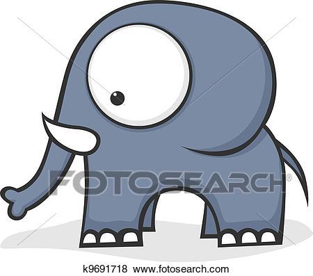 Big eyed elephant Clip Art.