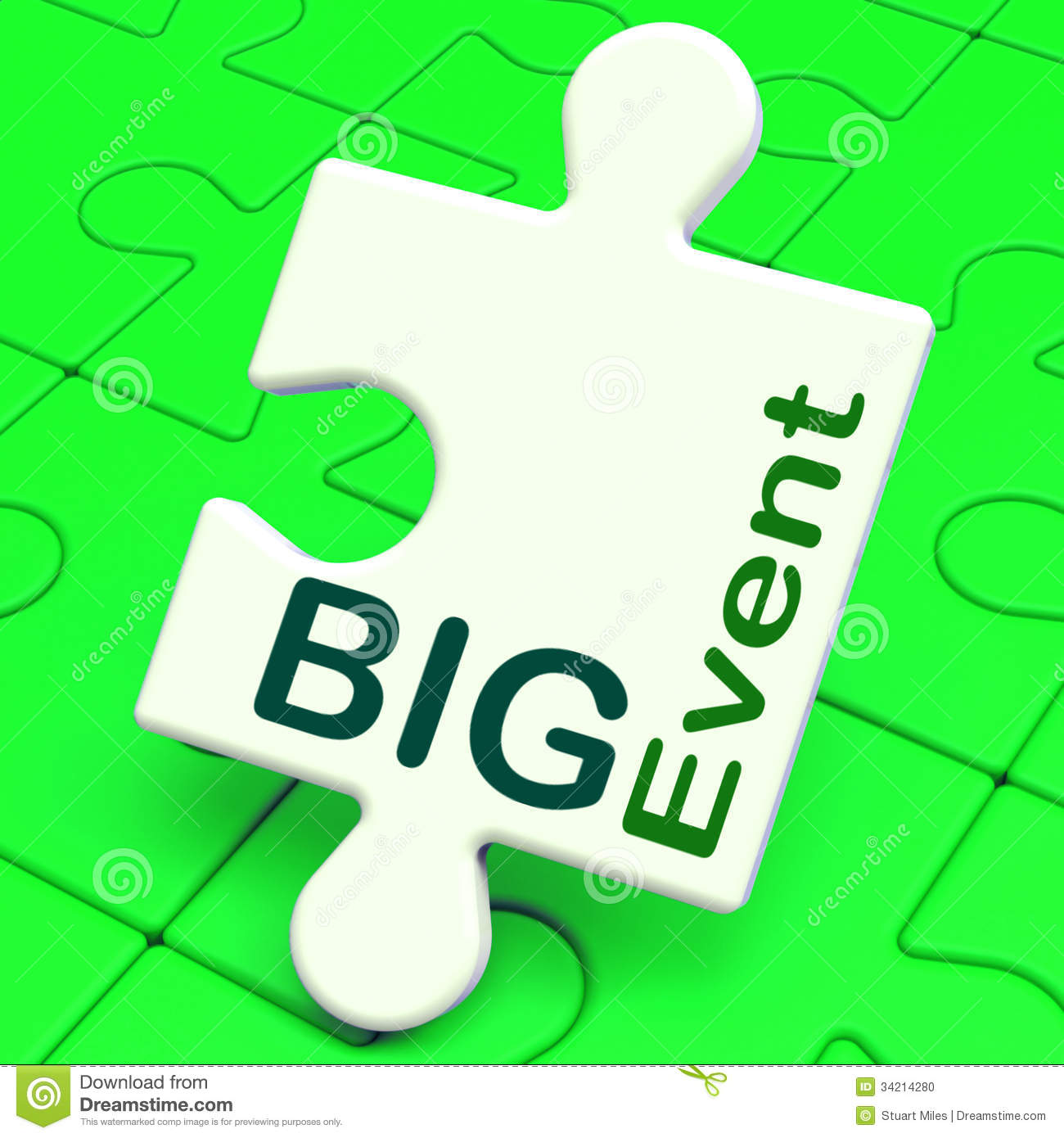 Big Event Puzzle Shows Celebration Occasion And Performance Stock.