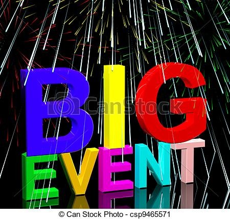 Clipart of Big Event Words With Fireworks Shows Upcoming Festival.