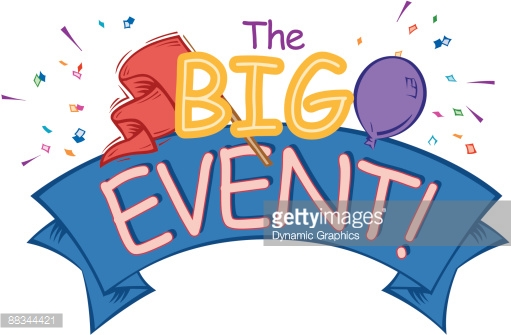 Heading The Big Event Banner Balloon And Pennant Color Vector Art.