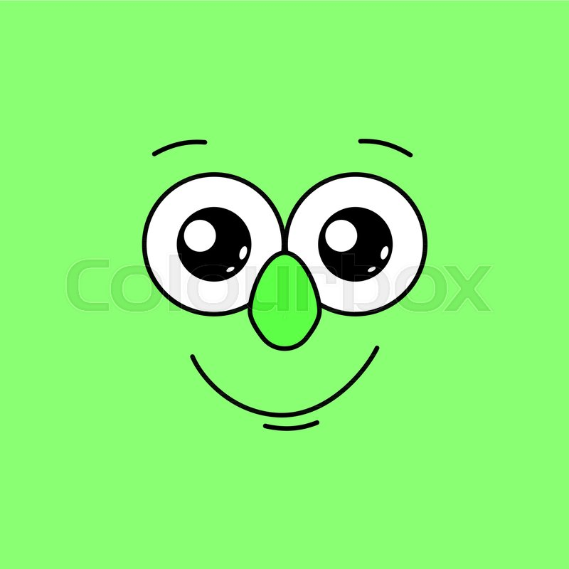 Smiling face with big eyes on a green.