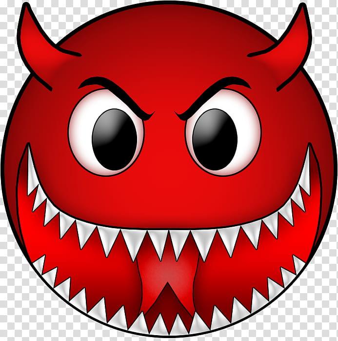 BIG Evil Smile, wide mouth with horn emoji transparent.