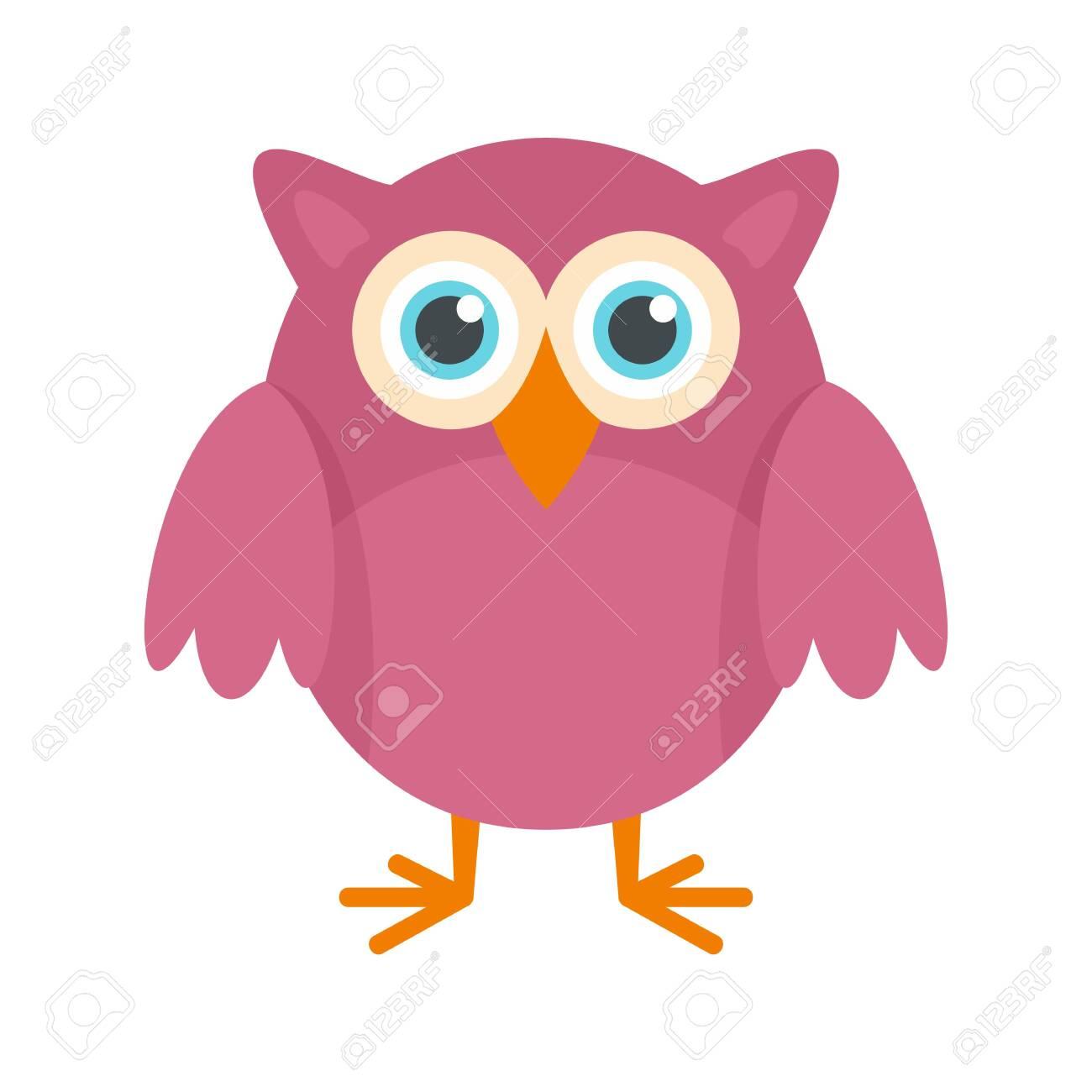 Big eyes owl icon, flat style.