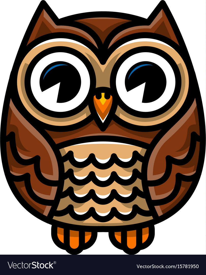 Cute cartoon owl bird with big eyes in sitting.