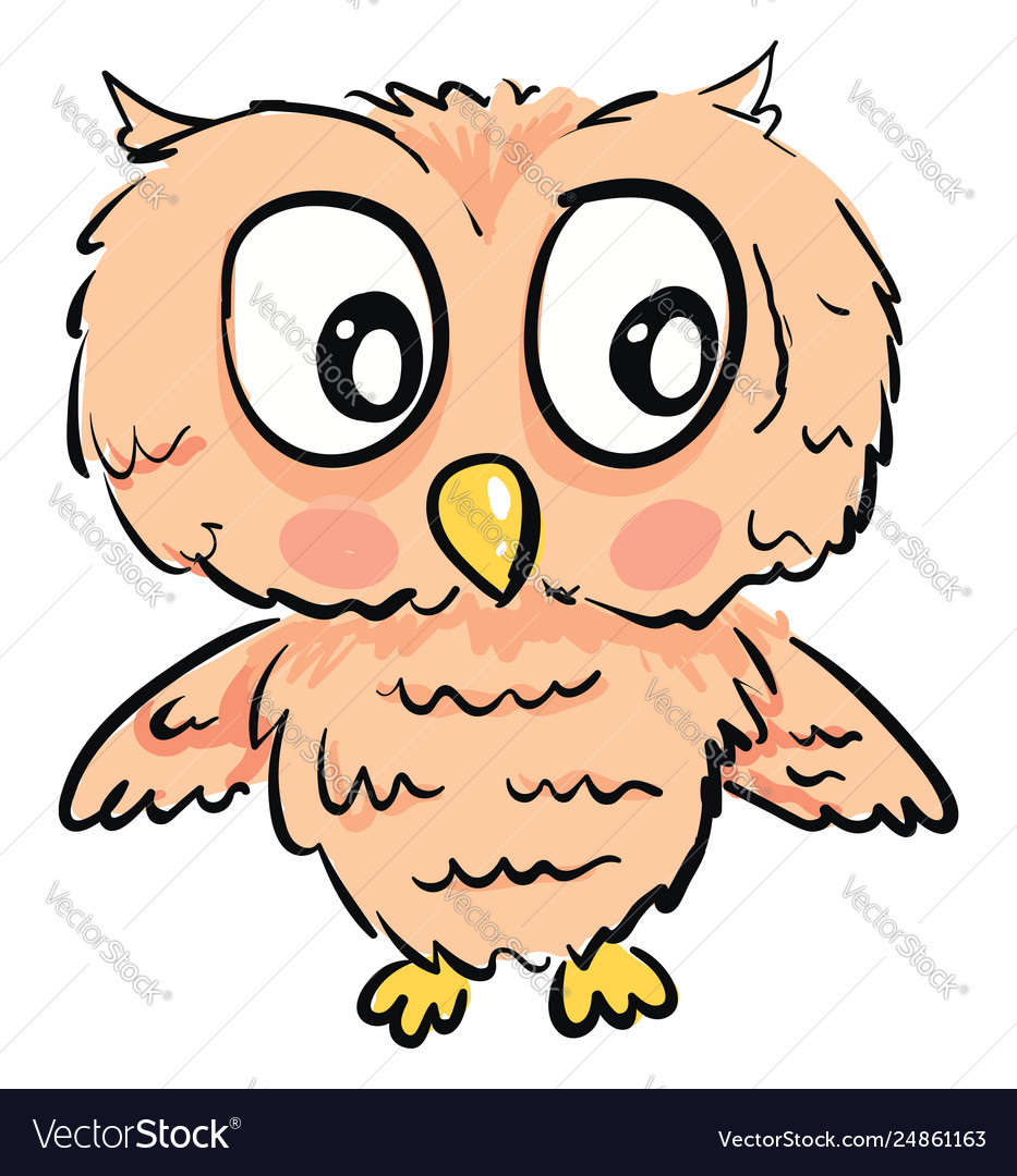 Cute owl with big eyes on white background.