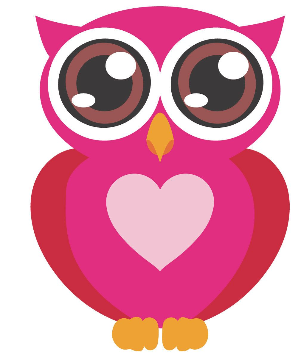 Pink Owl with Big Eyes Wall Stickers.