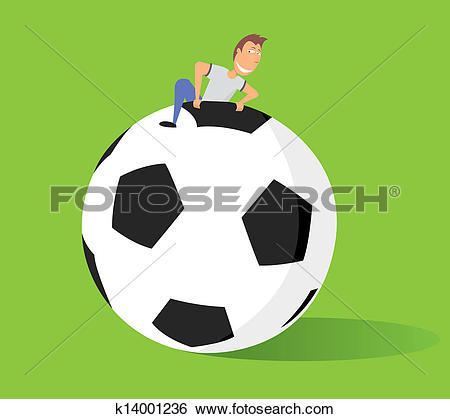 Clip Art of Huge soccer ball / Big fan of football or Fútbol.