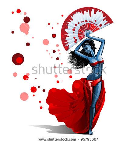 Beautiful Brunette Girl In Red Dress Dancing Holding Big Fan Stock.