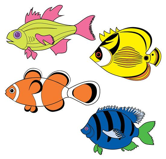 Draw Tropical Fishes.