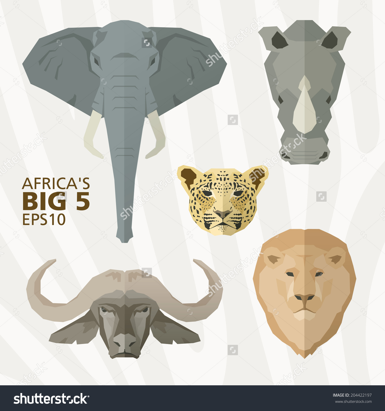 Africas Big 5 Animals Stock Vector 204422197.