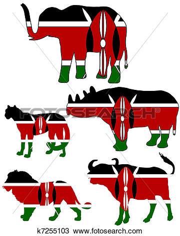Clipart of Big Five Kenya k7255103.