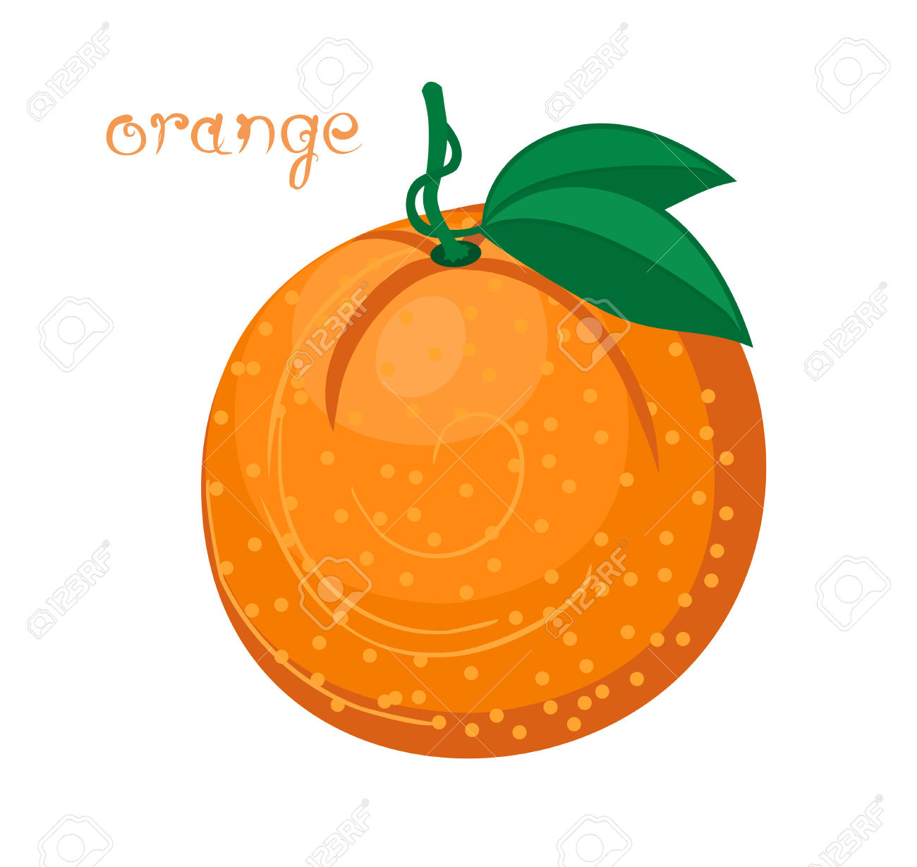 Orange Fruit. Illustration Of Big Fresh Orange With Couple Of.