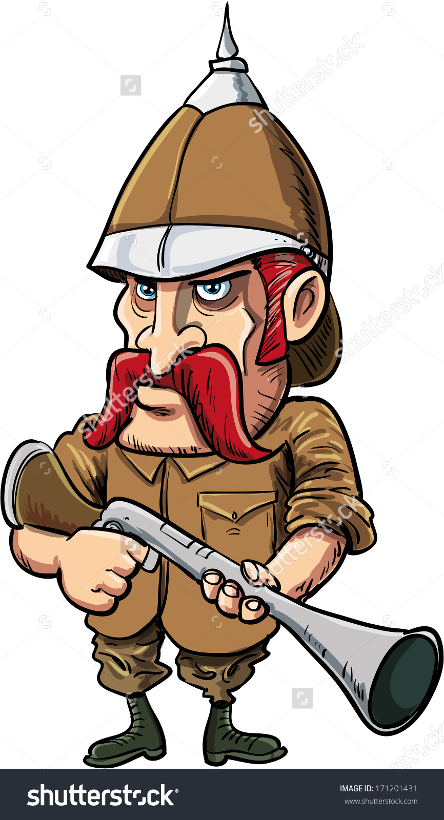 Cartoon Big Game Hunter With Pith Helmet. Isolated On White Stock.