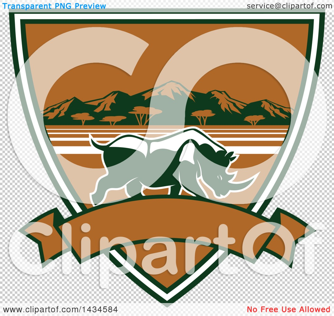 Clipart of a Big Game Rhinoceros Safari Hunting Shield with a.