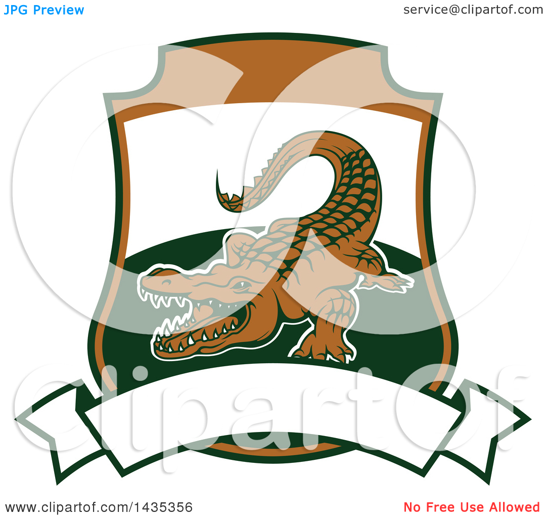 Clipart of a Big Game Hunting Design of a Crocodile or Alligator.