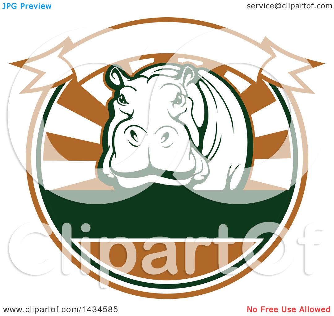 Clipart of a Big Game Hippopotamus Safari Hunting Design with a.