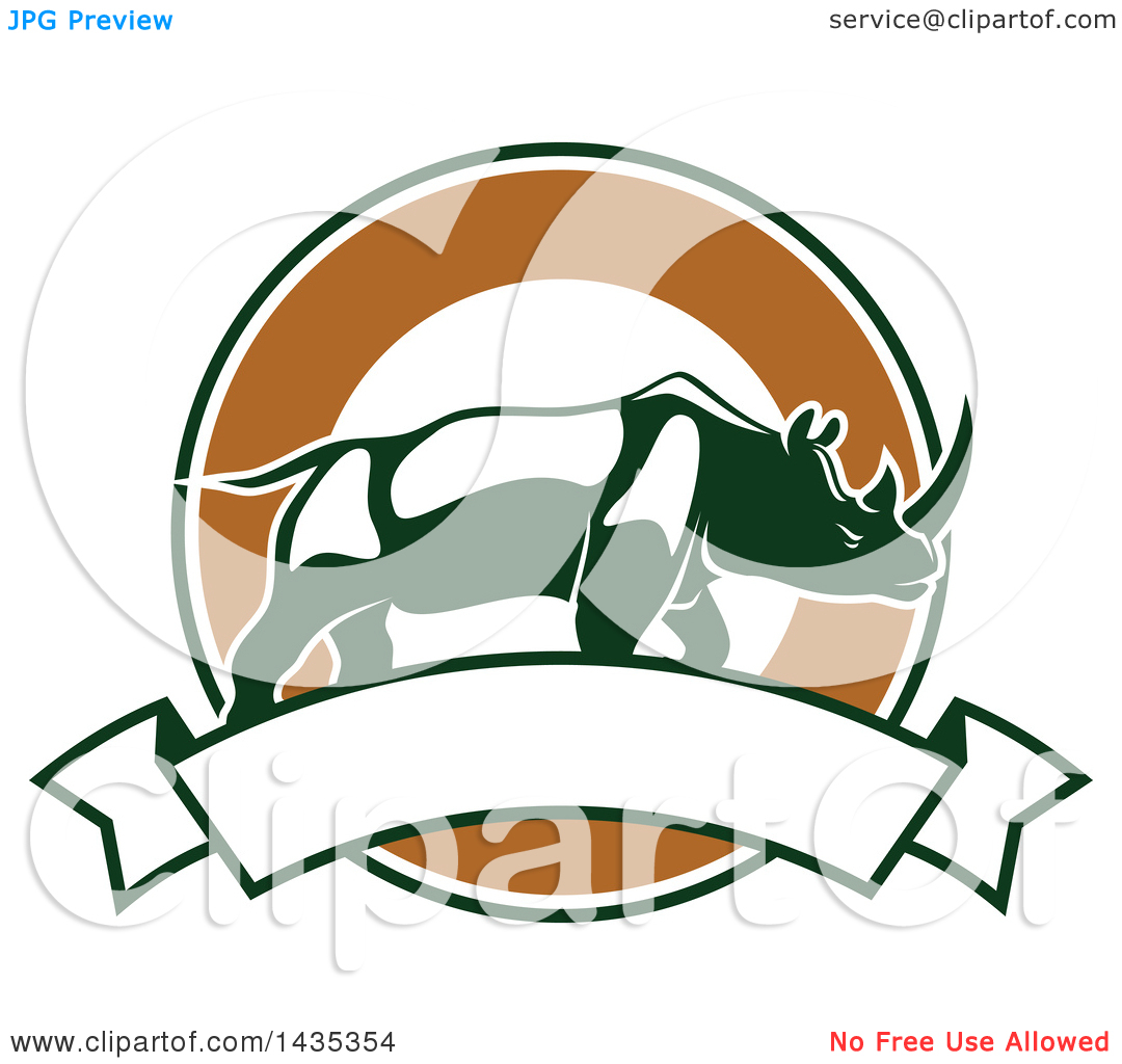 Clipart of a Big Game Hunting Design of a Rhinoceros over a Circle.